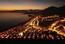 Vista nocturna camping Playa de Mazarrón