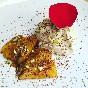 Mango a la plancha con espuma de foie vegano, chocolate y pistachos